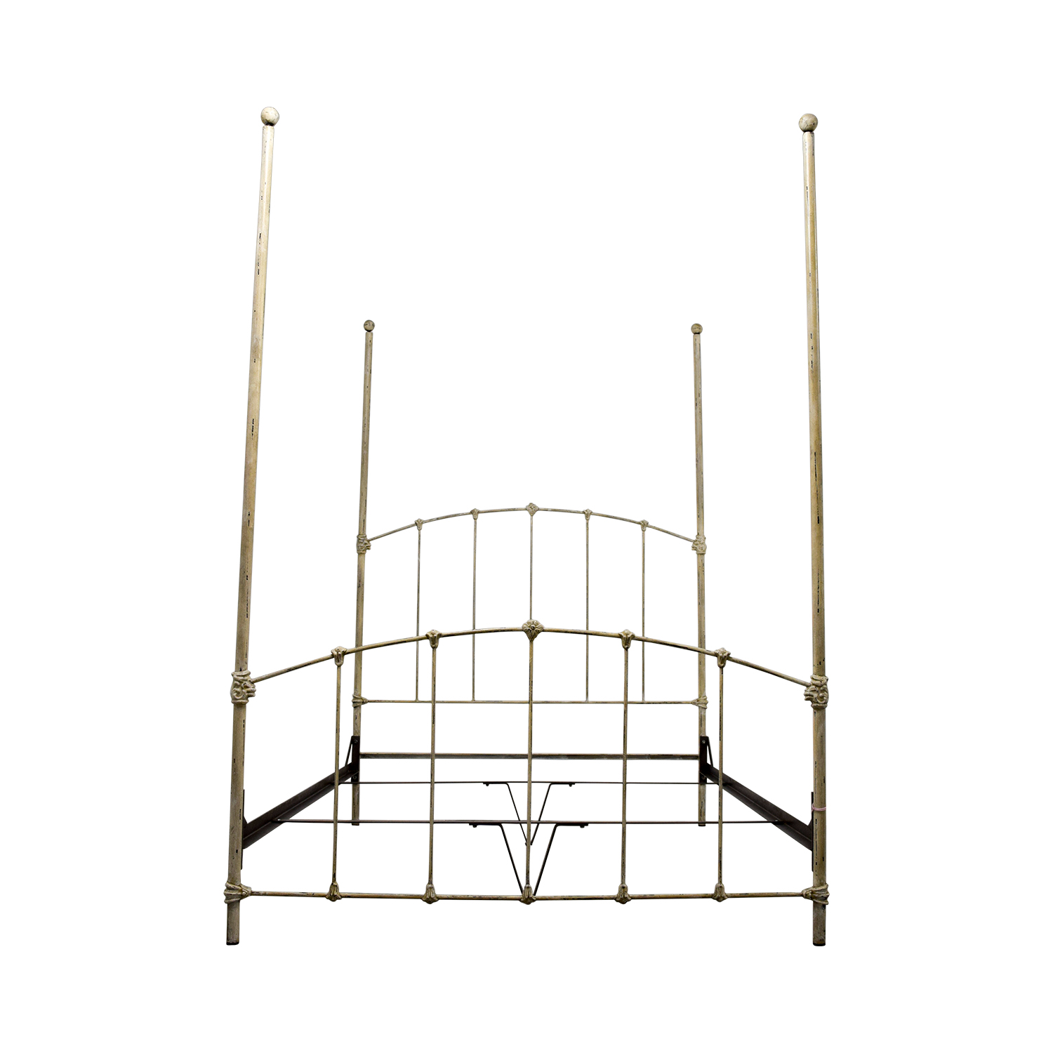 buy Wrought Iron Distressed White Four Poster Queen Bed online