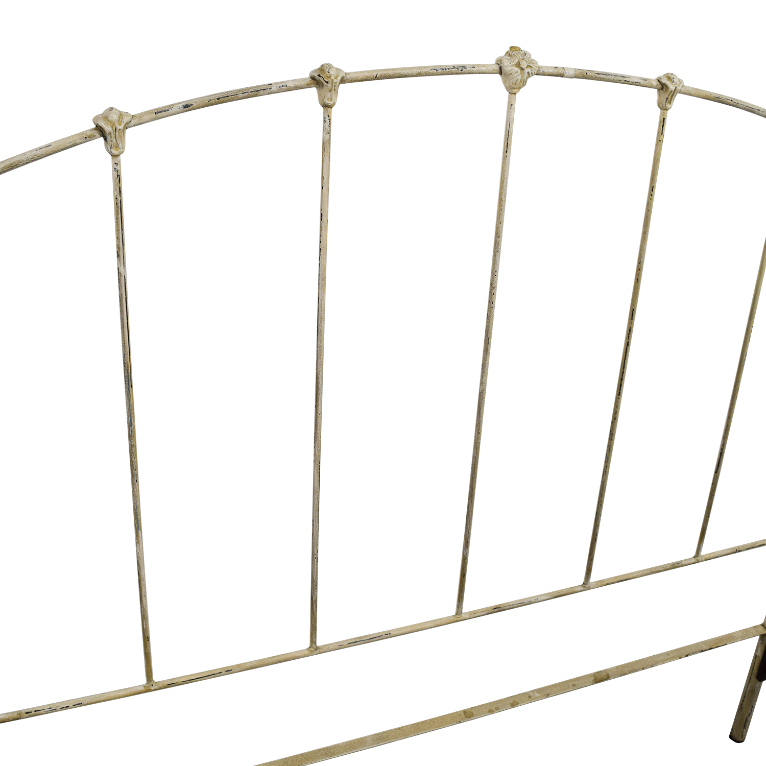 90 Off Wrought Iron Distressed White Four Poster Queen