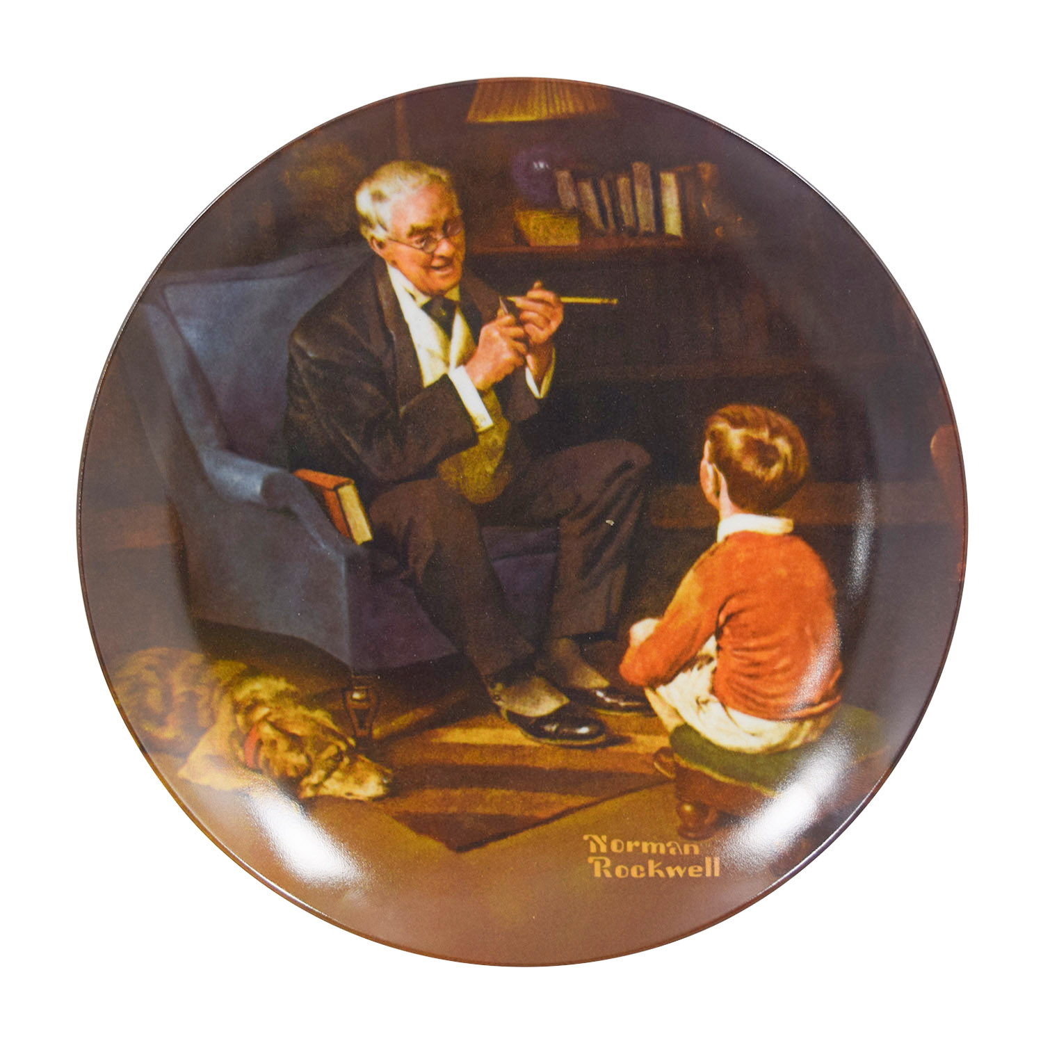 shop Edward Knowles Reproduction Plate Norman Rockwell The Tycoon Edward M. Knowles Wall Art