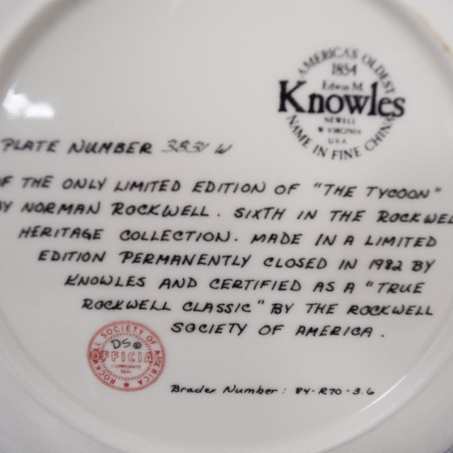 buy Edward Knowles Reproduction Plate Norman Rockwell The Tycoon Edward M. Knowles