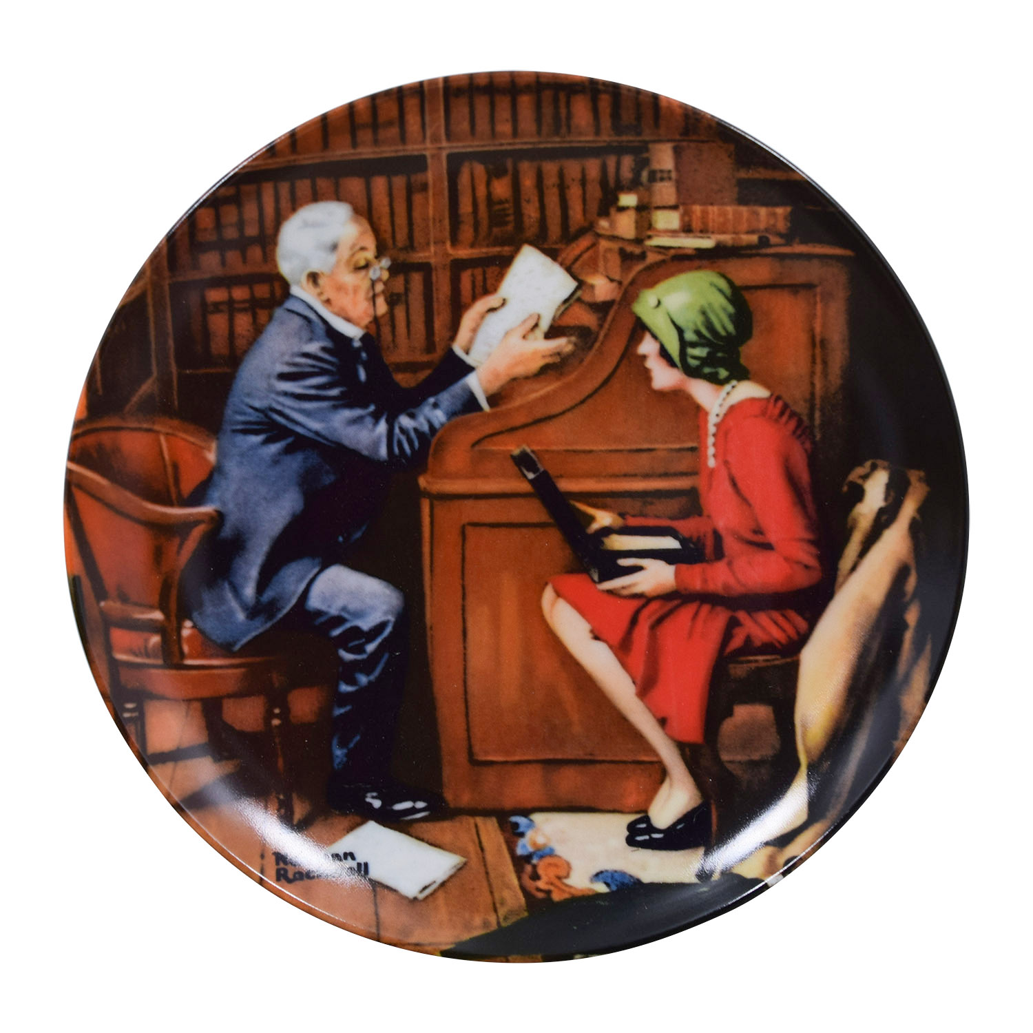 shop Edward M. Knowles Norman Rockwell Plate The Professor Edward M. Knowles Decor