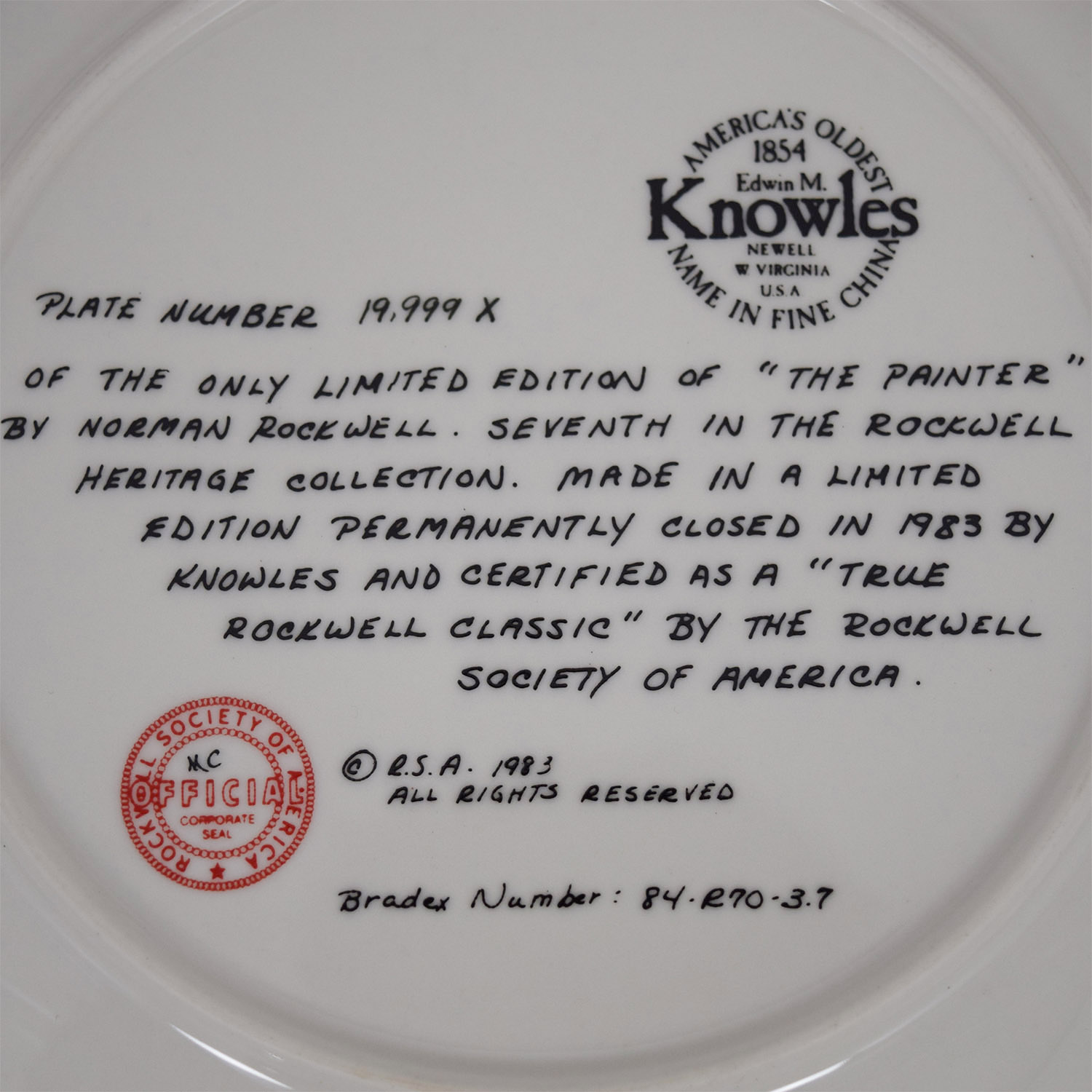 Edward M. Knowles Edward M. Knowles Norman Rockwells The Painter Plate coupon