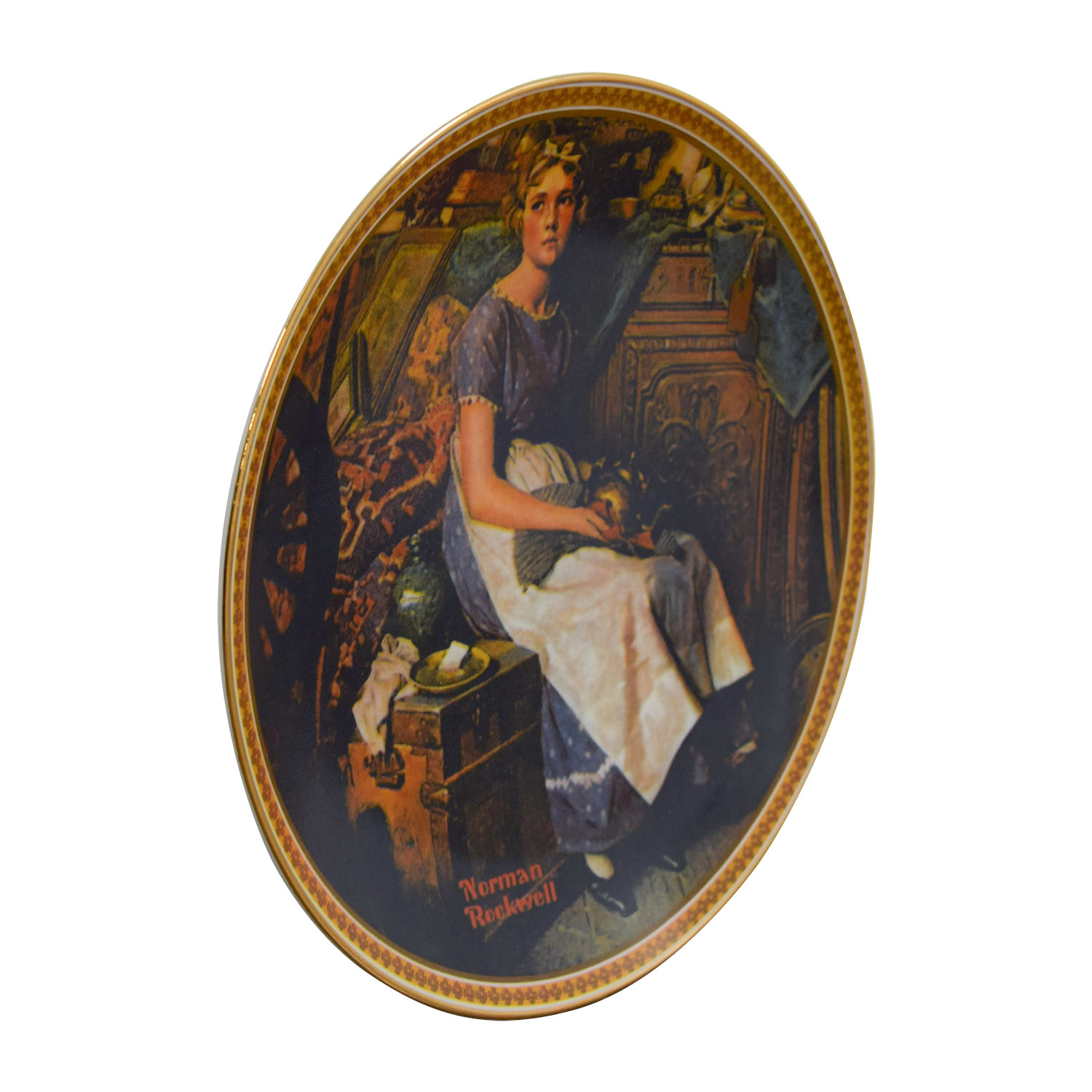 Edward M. Knowles Edward M. Knowles Norman Rockwell Dreaming In The Attic Plate Multi