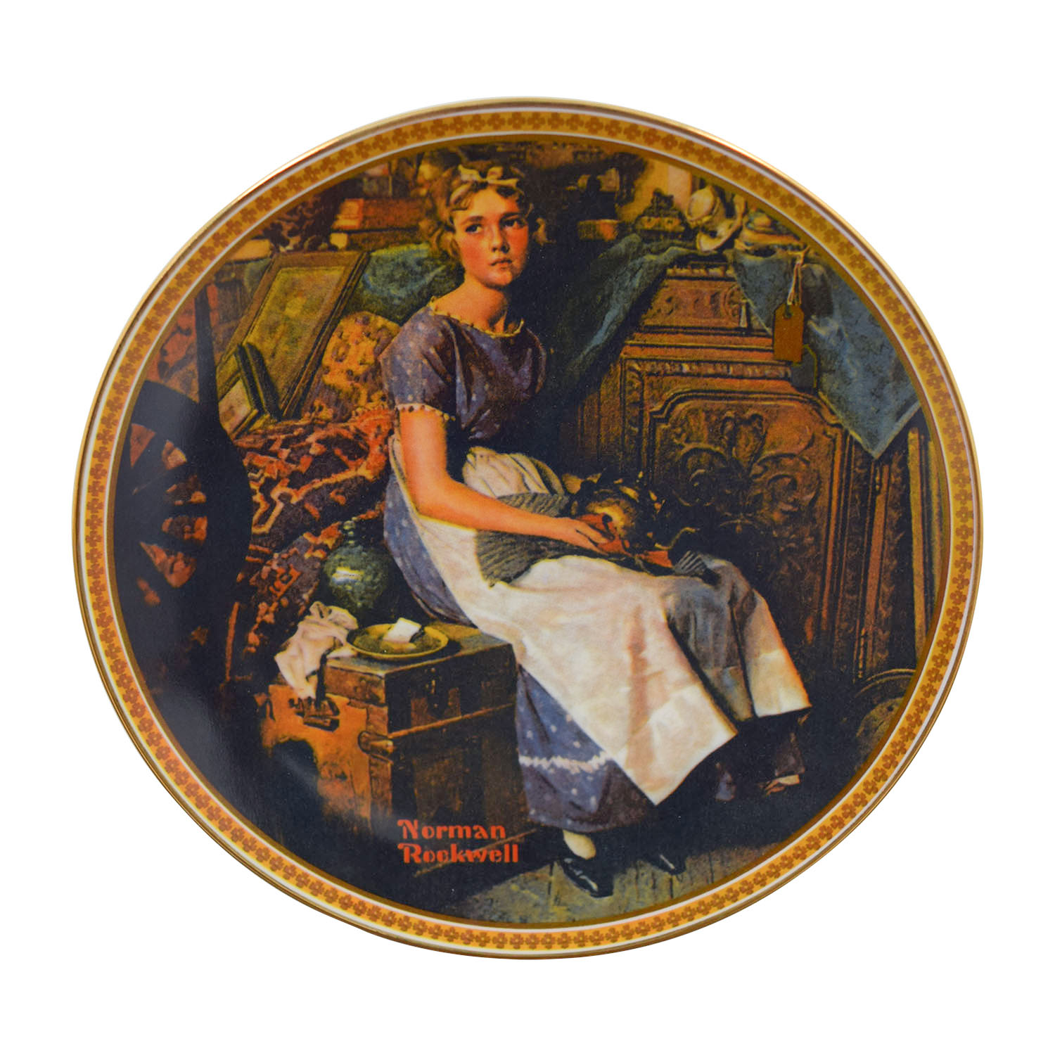 Edward M. Knowles Edward M. Knowles Norman Rockwell Dreaming In The Attic Plate Decor