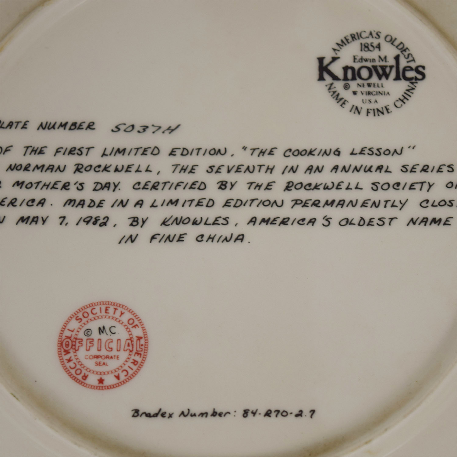 buy Edward M. Knowles Norman Rockwell Plate The Cooking Lesson Edward M. Knowles Decor