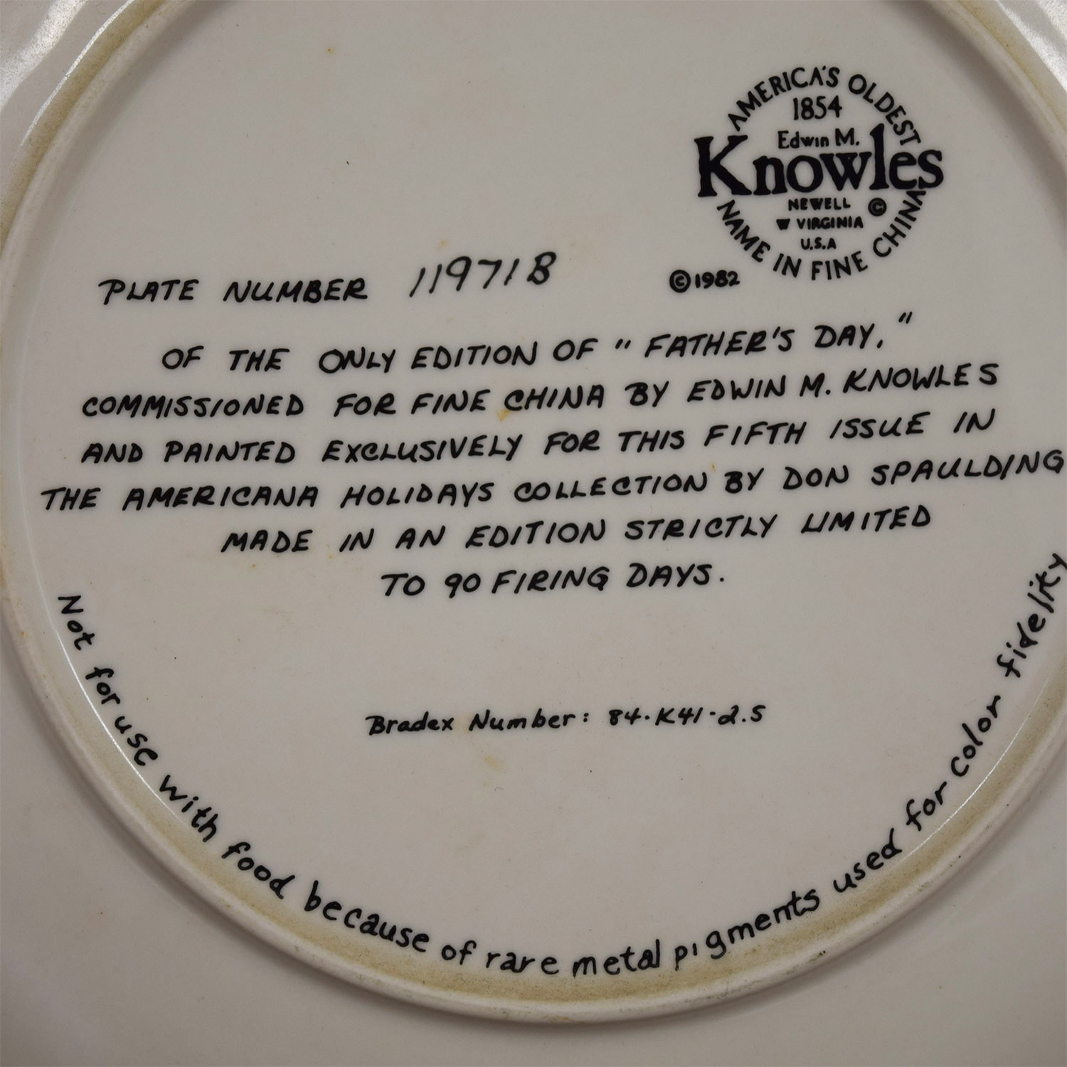 Edward M. Knowles Norman Rockwell Fathers Day Plate Edward M. Knowles