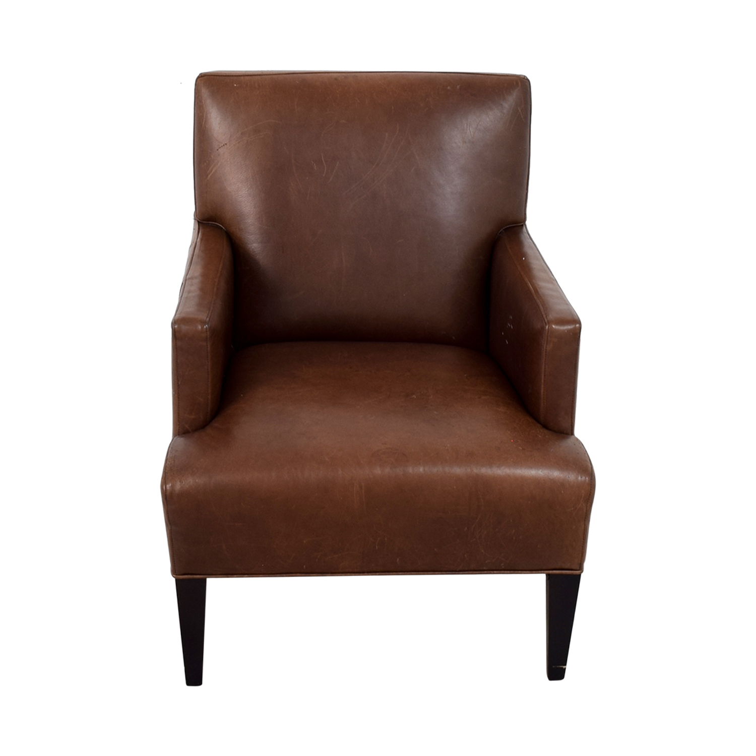 41 Off Crate Barrel Brown Leather Arm Chair Chairs