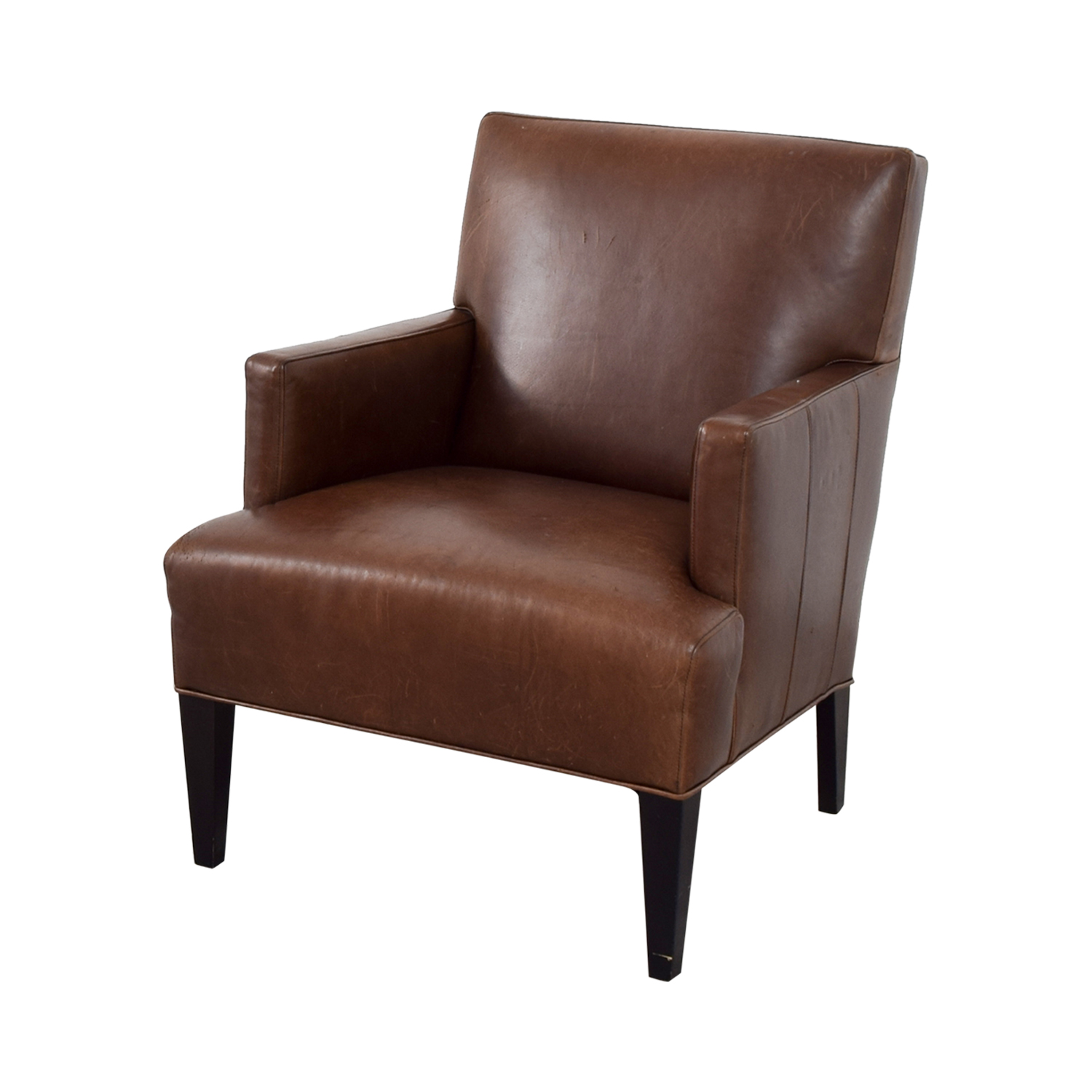 Crate & Barrel Brown Leather Arm Chair Crate & Barrel