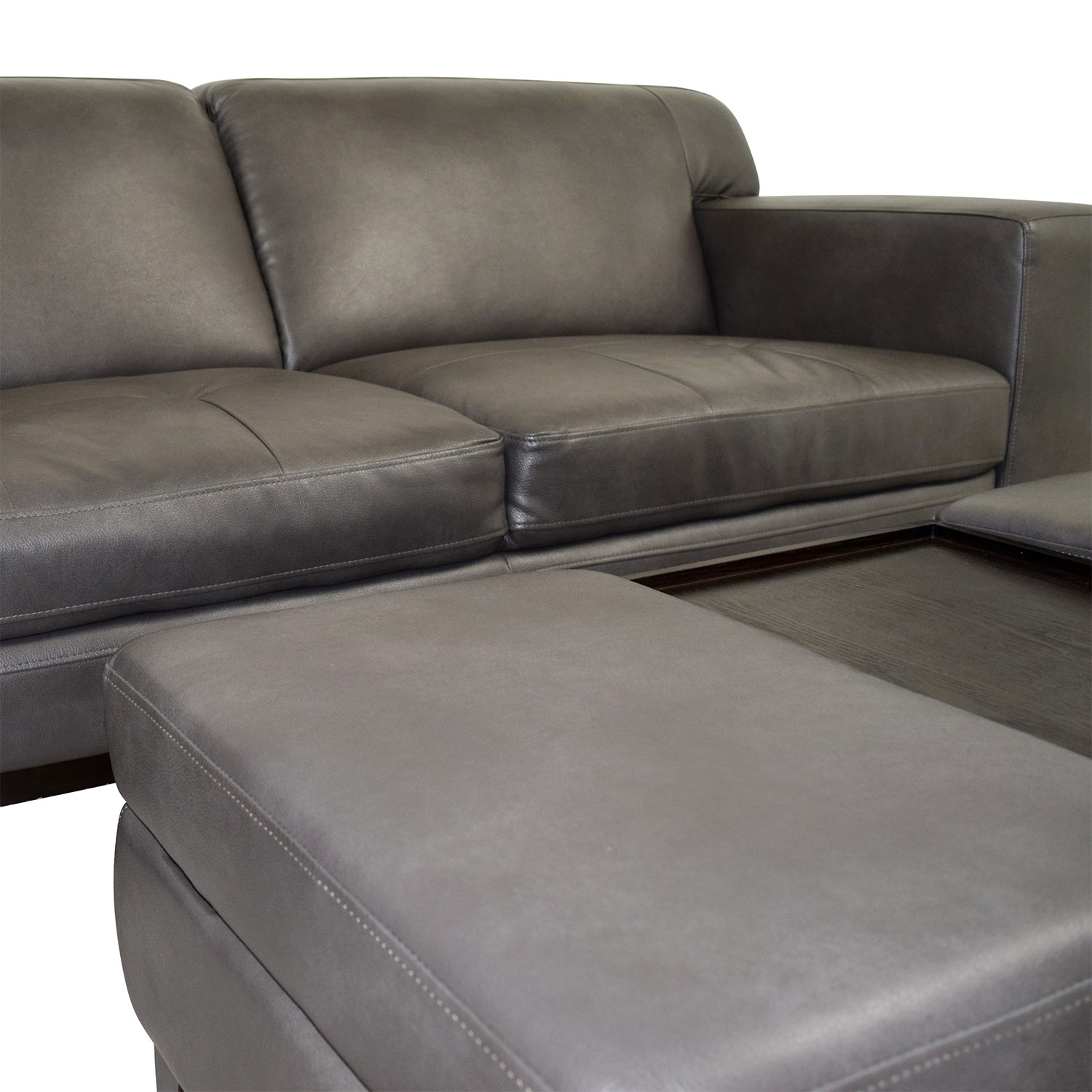 Raymour & Flanigan Raymour & Flanigan Grey Leather Couch with Storage Ottoman second hand