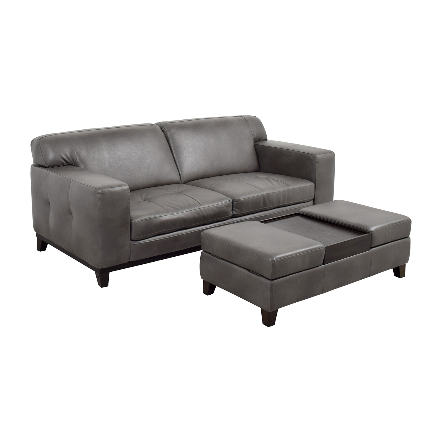 Raymour & Flanigan Grey Leather Couch with Storage Ottoman / Sofas
