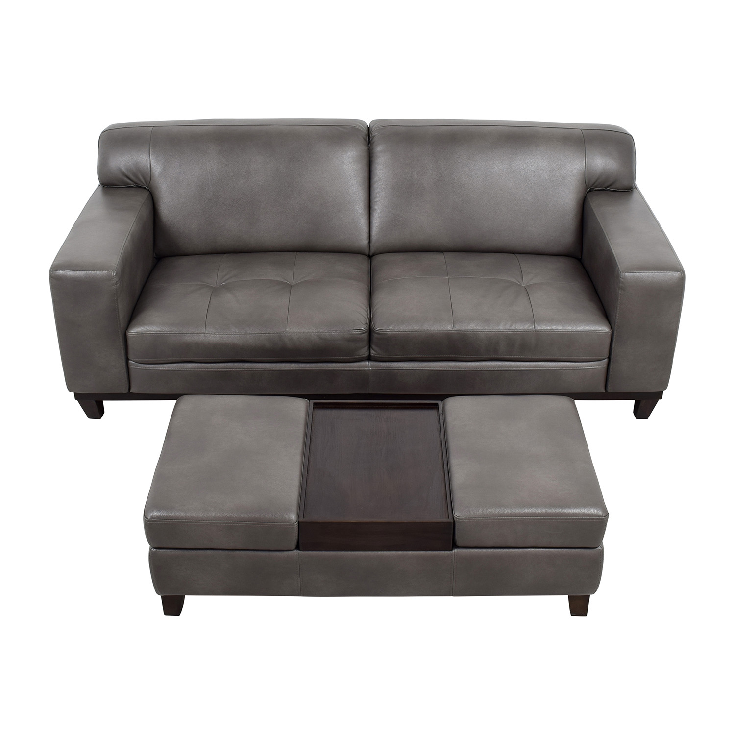 Raymour Flanigan Grey Leather Couch With Storage Ottoman Sofas