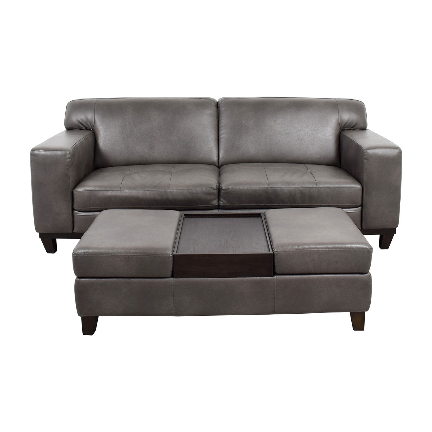68% OFF - Raymour & Flanigan Raymour & Flanigan Grey Leather Couch with  Storage Ottoman / Sofas