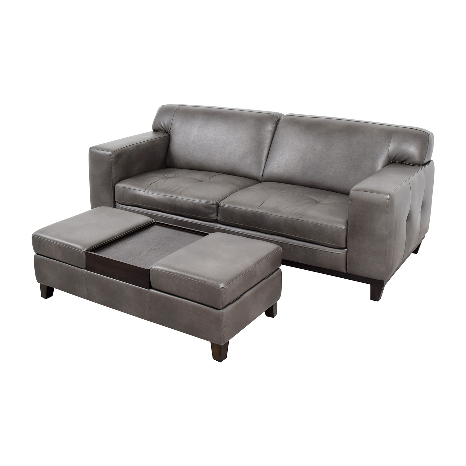 buy Raymour & Flanigan Grey Leather Couch with Storage Ottoman Raymour & Flanigan Classic Sofas