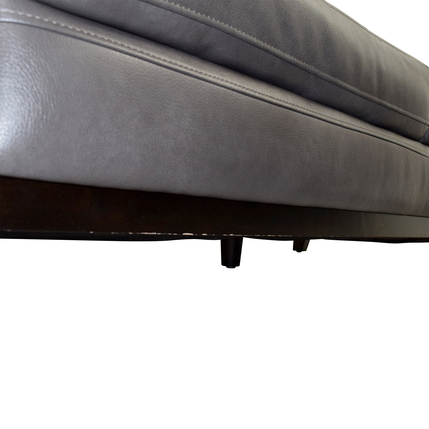 shop Raymour & Flanigan Raymour & Flanigan Grey Leather Couch with Storage Ottoman online