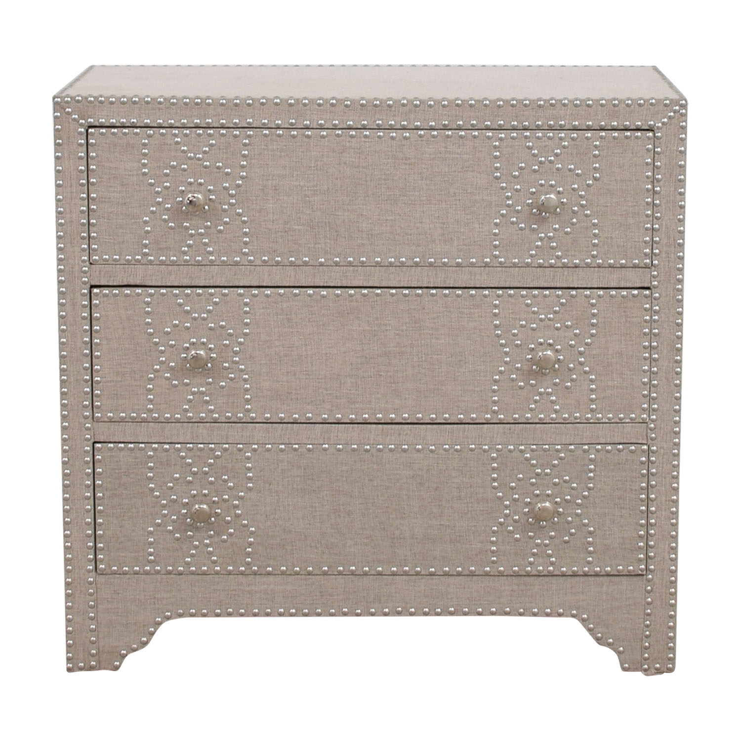 Pier 1 Import Grey Fabric Lexford Chest with Nailheads / Dressers