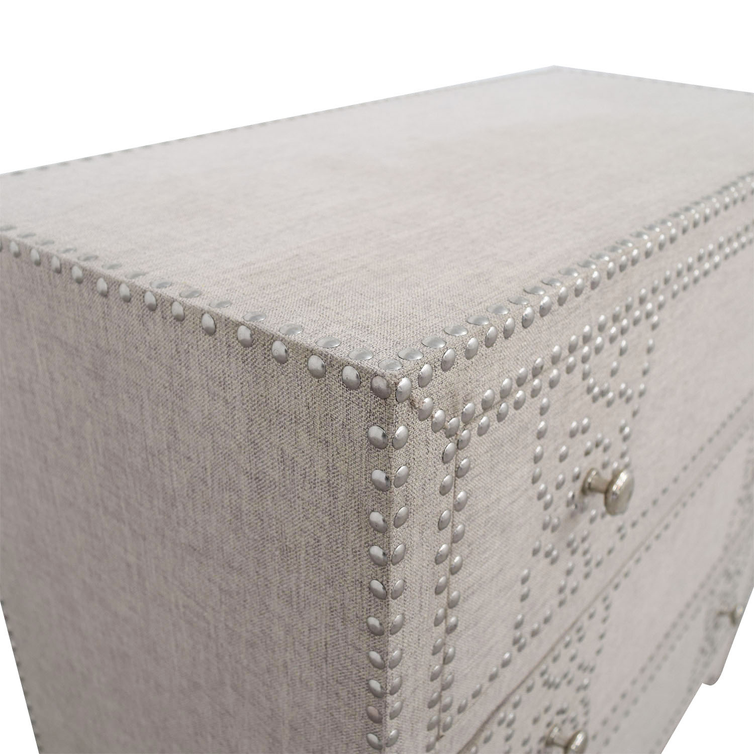 shop Pier 1 Import Grey Fabric Lexford Chest with Nailheads Pier 1 Imports Storage