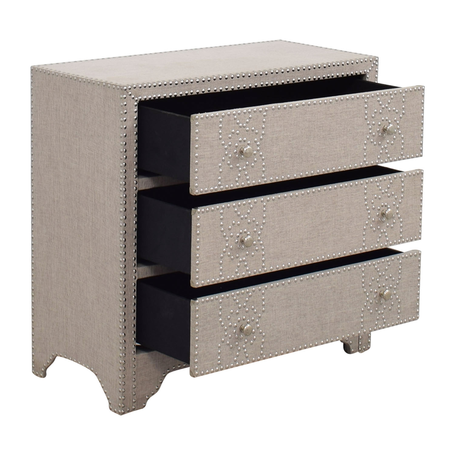 Pier 1 Imports Pier 1 Import Grey Fabric Lexford Chest with Nailheads nyc