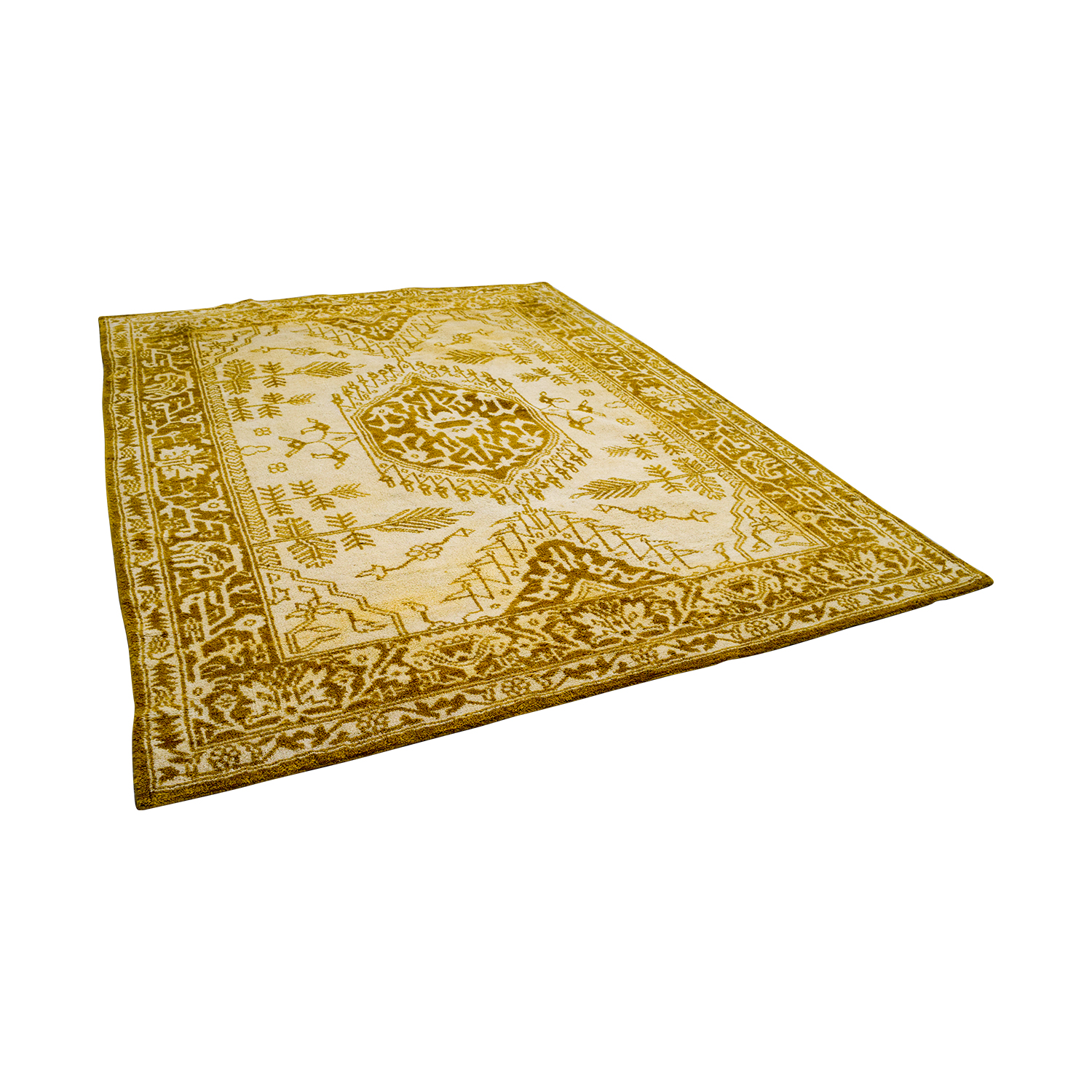 Anthropologie Anthropologie Hand Knotted Arasta Rug YELLOW/WHITE