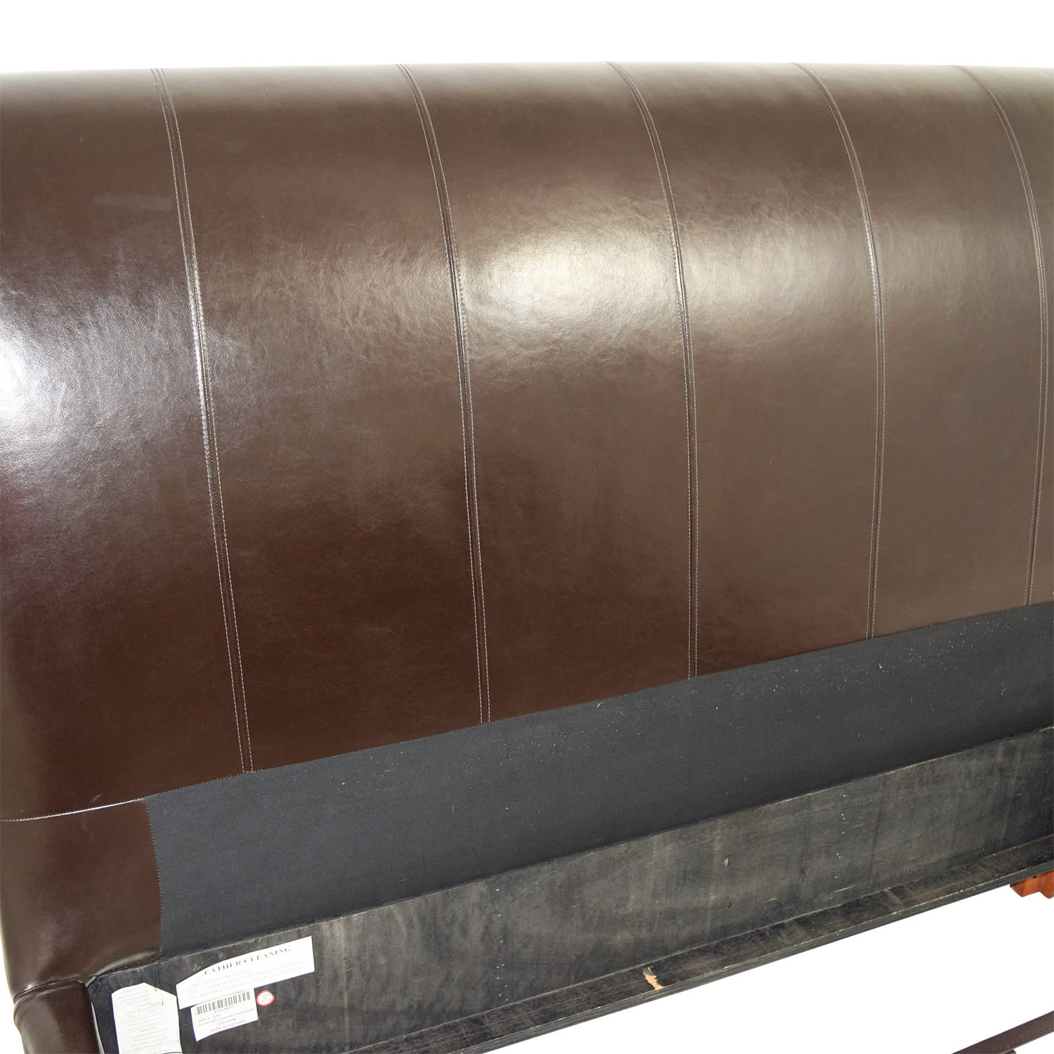 Brown Leather Queen Sleigh Bed discount