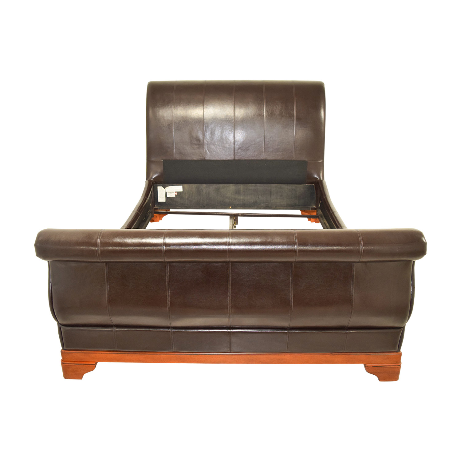 Brown Leather Queen Sleigh Bed used