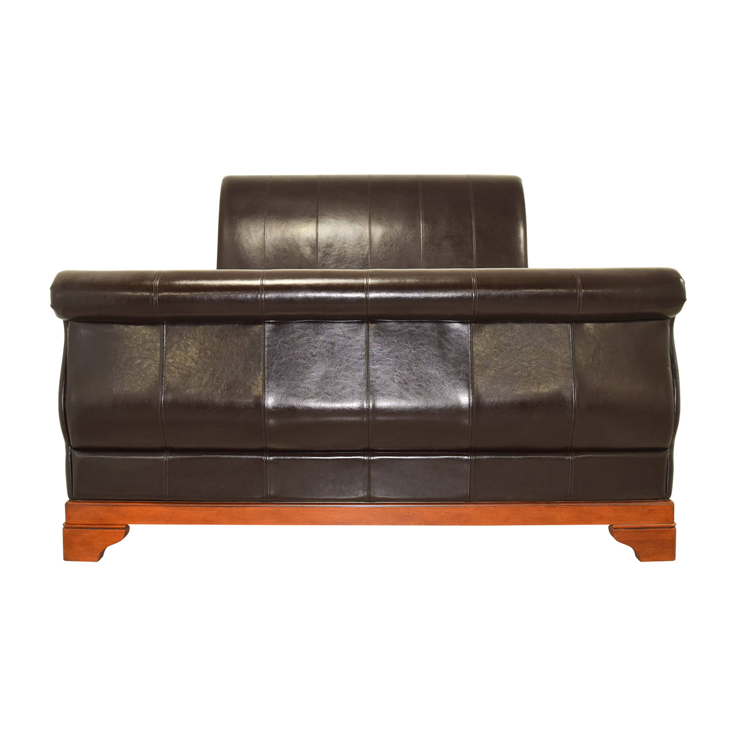 Brown Leather Queen Sleigh Bed Beds
