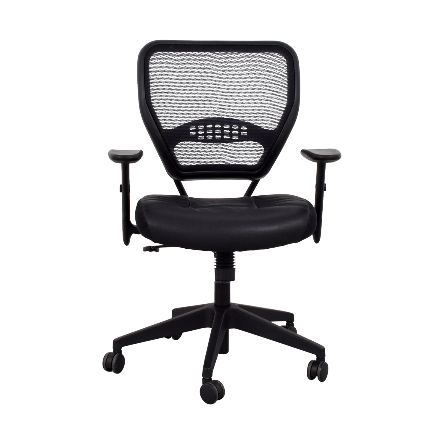 Office Star Office Star Black Eco Leather Seat and Air Grid Back Chair Home Office Chairs