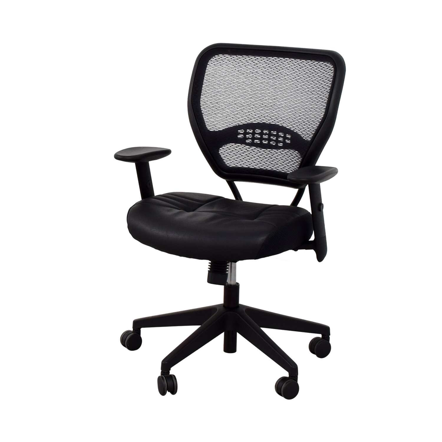 Office Star Office Star Black Eco Leather Seat and Air Grid Back Chair dimensions