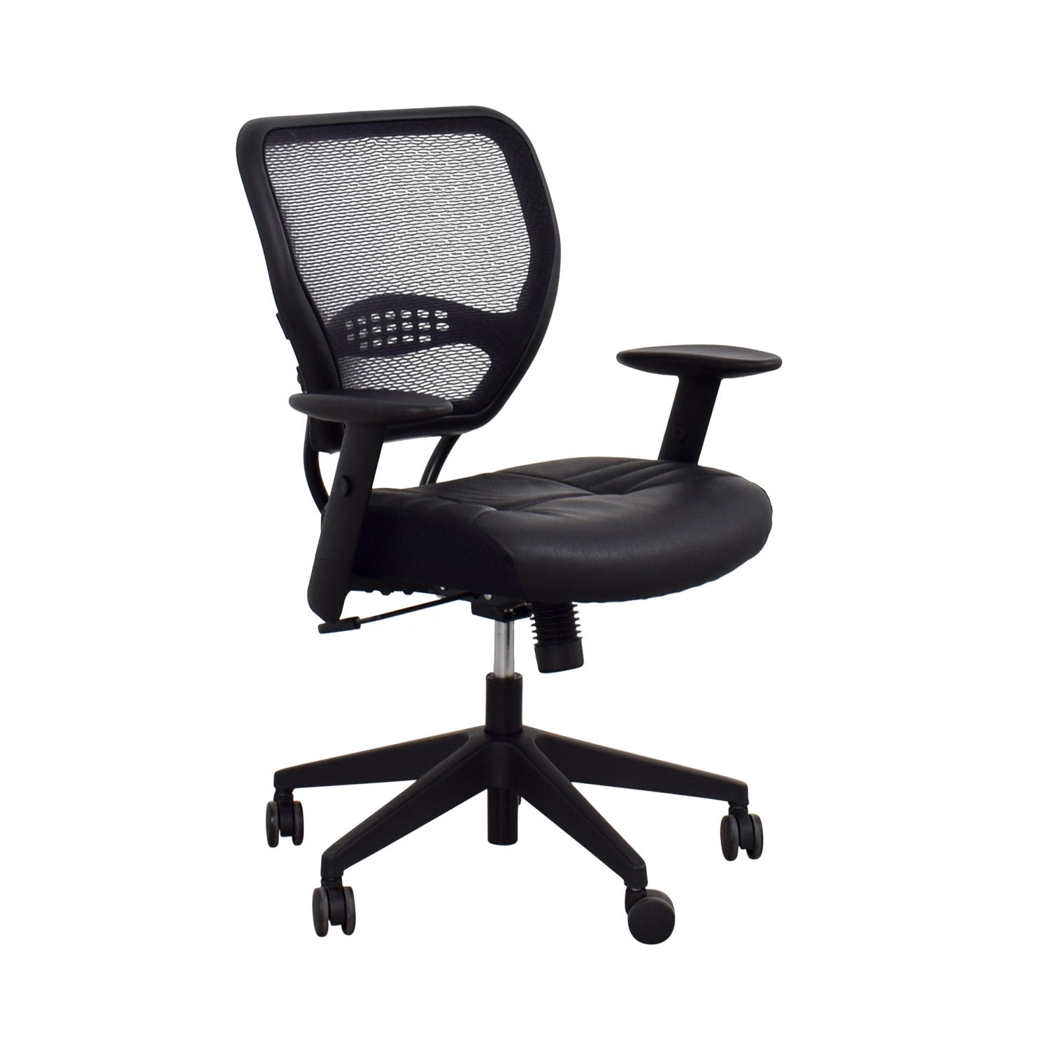 Office Star Black Eco Leather Seat and Air Grid Back Chair / Home Office Chairs