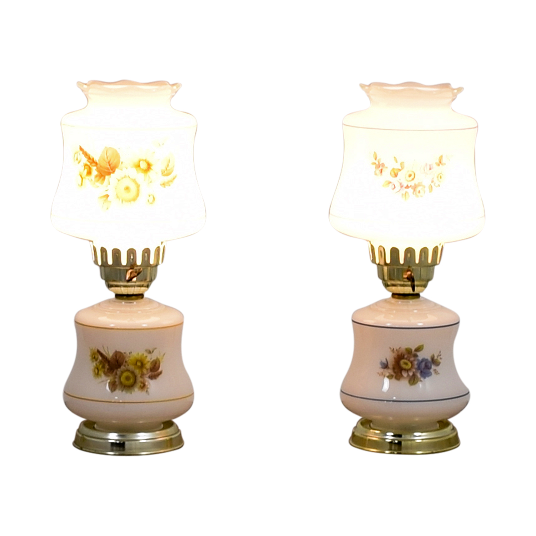 Vintage Mid-Century White Sunflower Lamps / Lamps