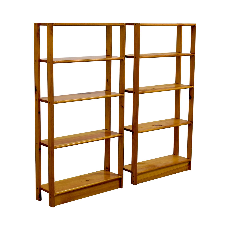 Slim Light Brown Wooden Bookshelves coupon