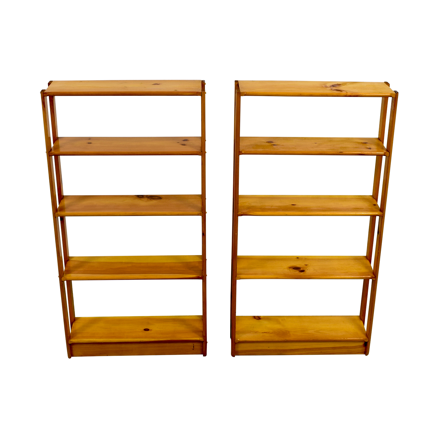 Slim Light Brown Wooden Bookshelves nj