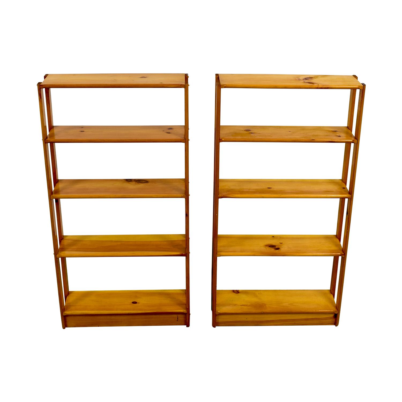 Slim Light Brown Wooden Bookshelves price
