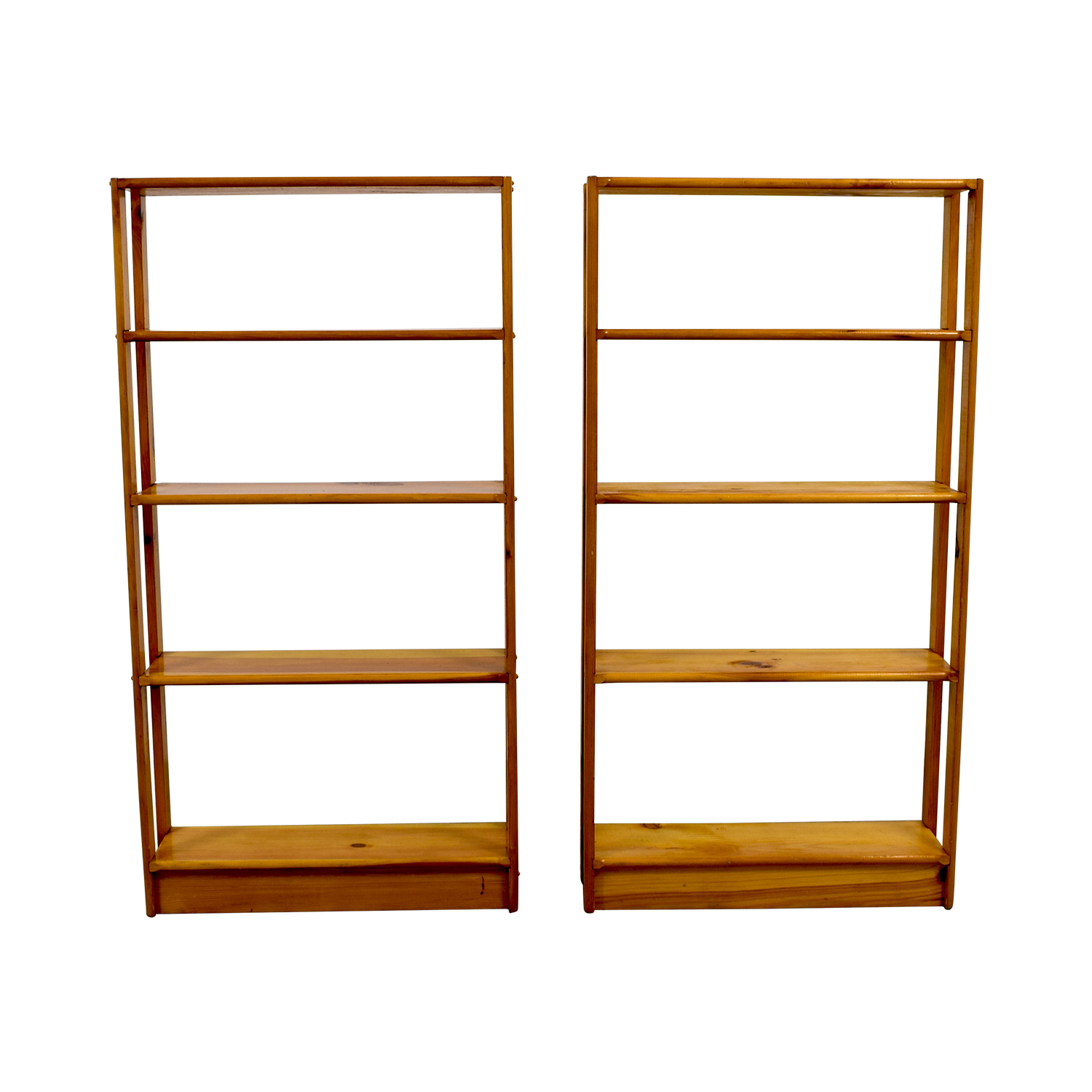 Slim Light Brown Wooden Bookshelves / Bookcases & Shelving