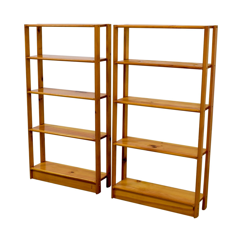 shop Slim Light Brown Wooden Bookshelves