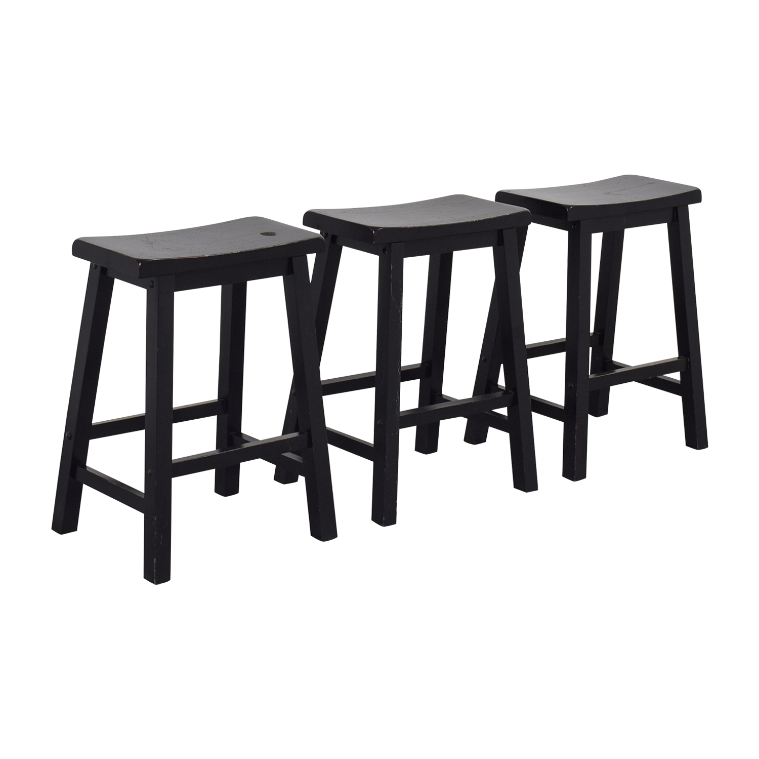 West Elm West Elm Black Solid Wood Stools Stools