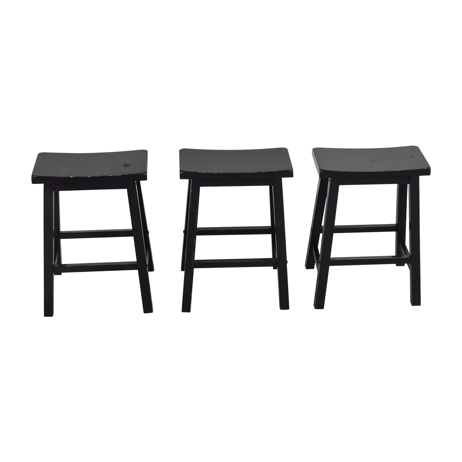 West Elm Black Solid Wood Stools sale