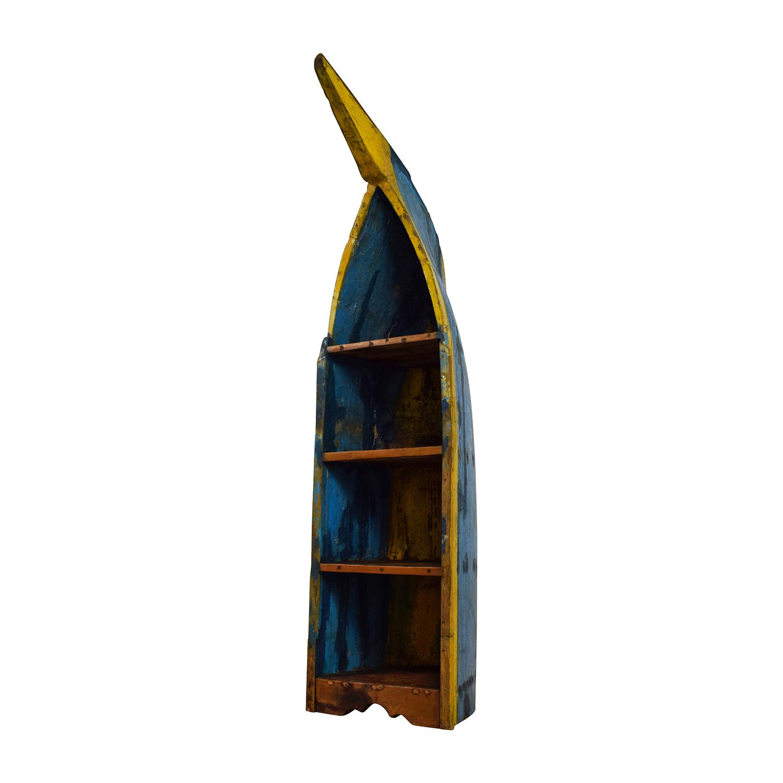85 Off Rustic Bali Boat Bookshelf Storage