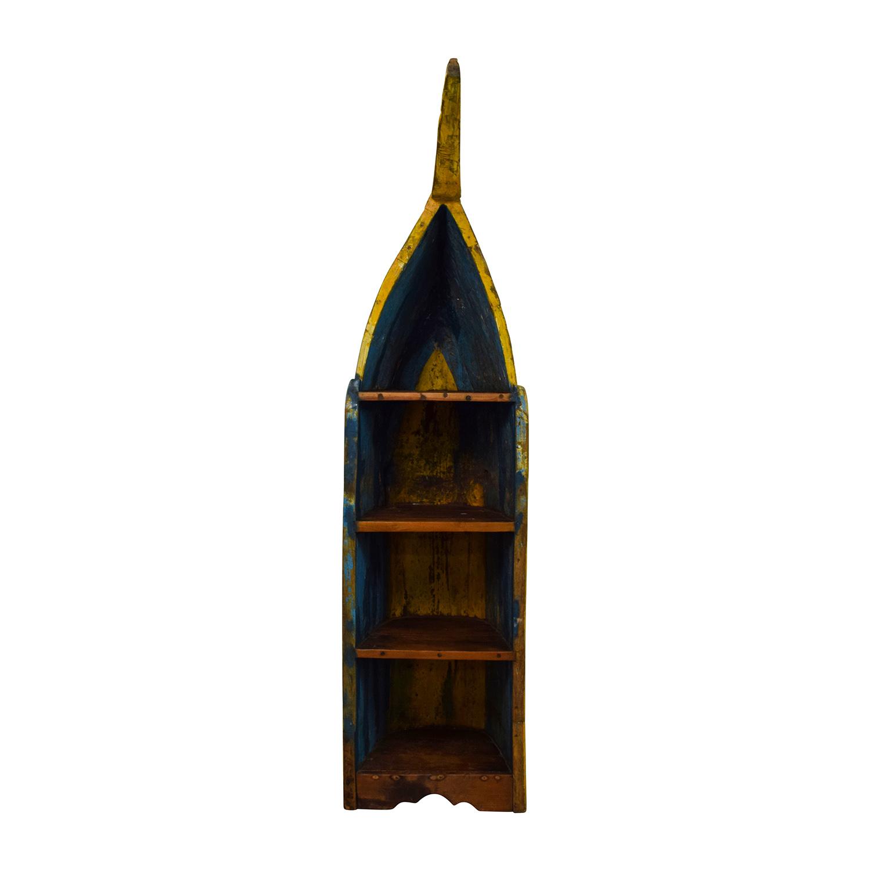 Rustic Bali Boat Bookshelf used