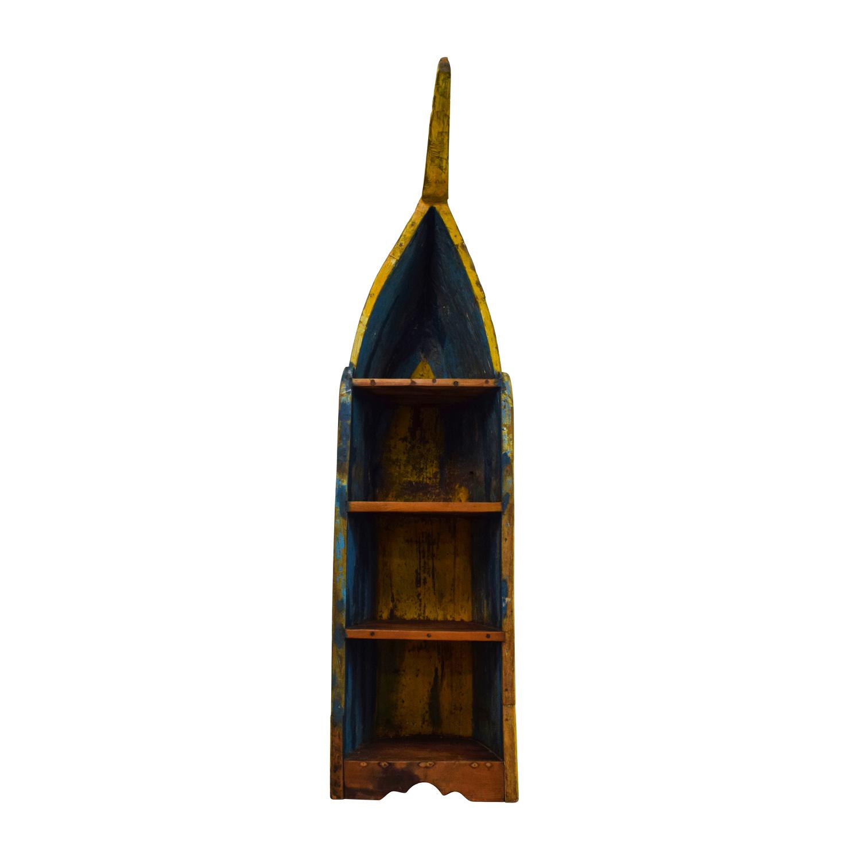 shop Rustic Bali Boat Bookshelf Bookcases & Shelving