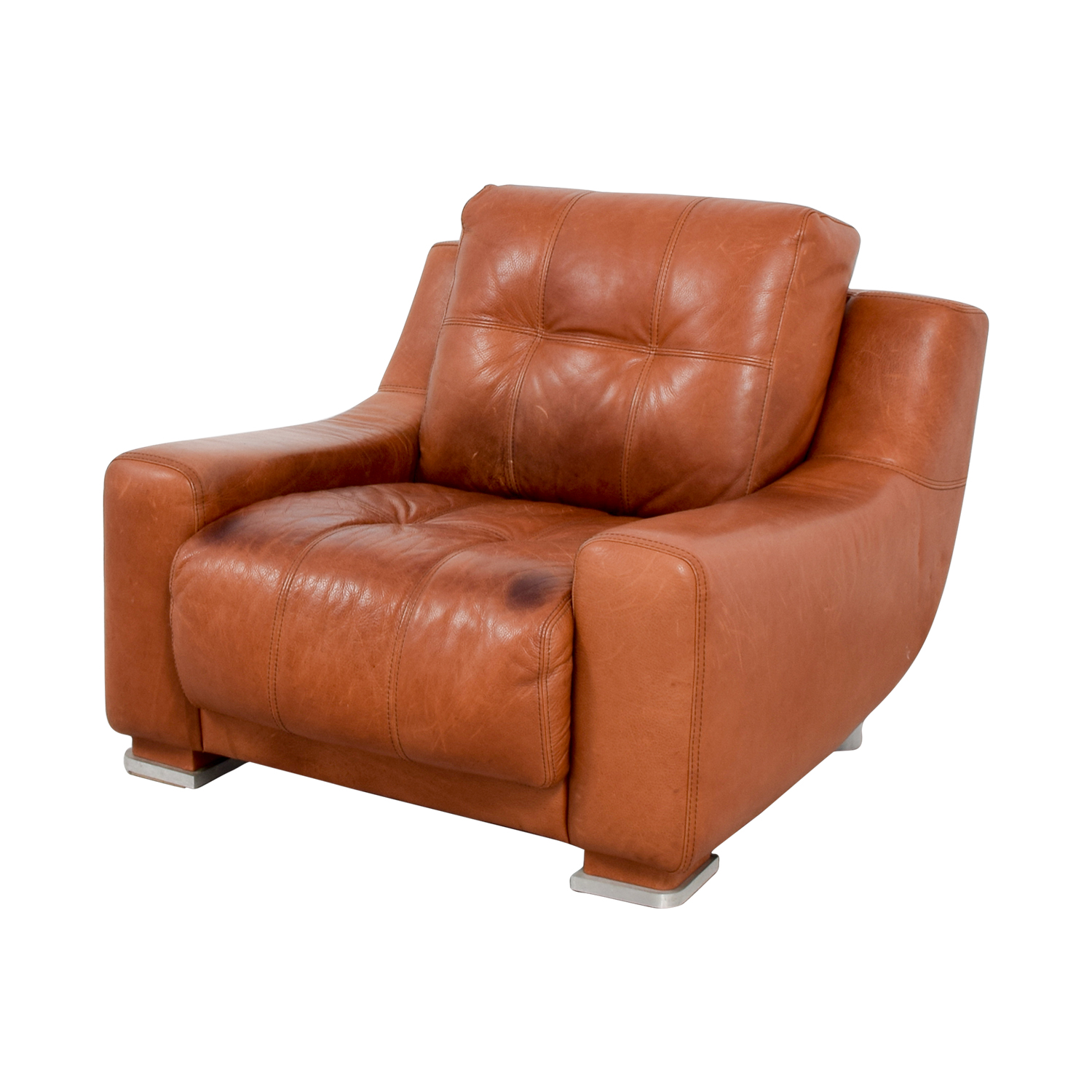 Luxury Tan Leather Accent Chair