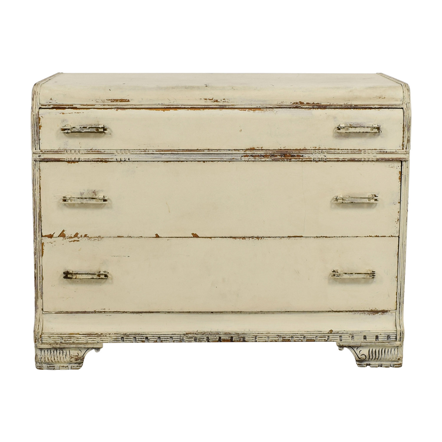 Restoration Hardware Distressed White Three-Drawer Dresser sale