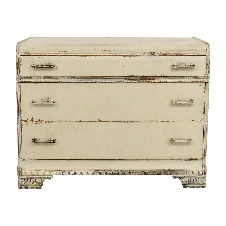 Restoration Hardware Restoration Hardware Distressed White Three-Drawer Dresser discount