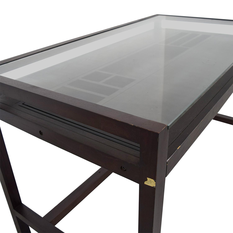 Glass and Wood Desk Dark C hocolate