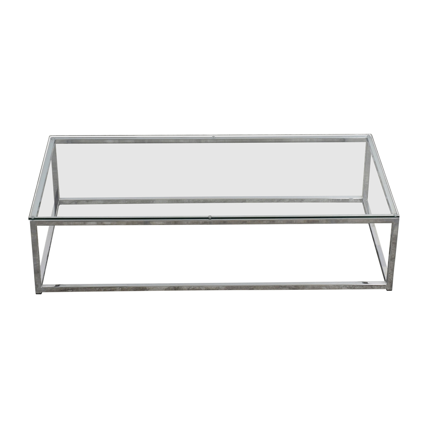 CB2 CB2 Glass and Chrome Coffee Table for sale