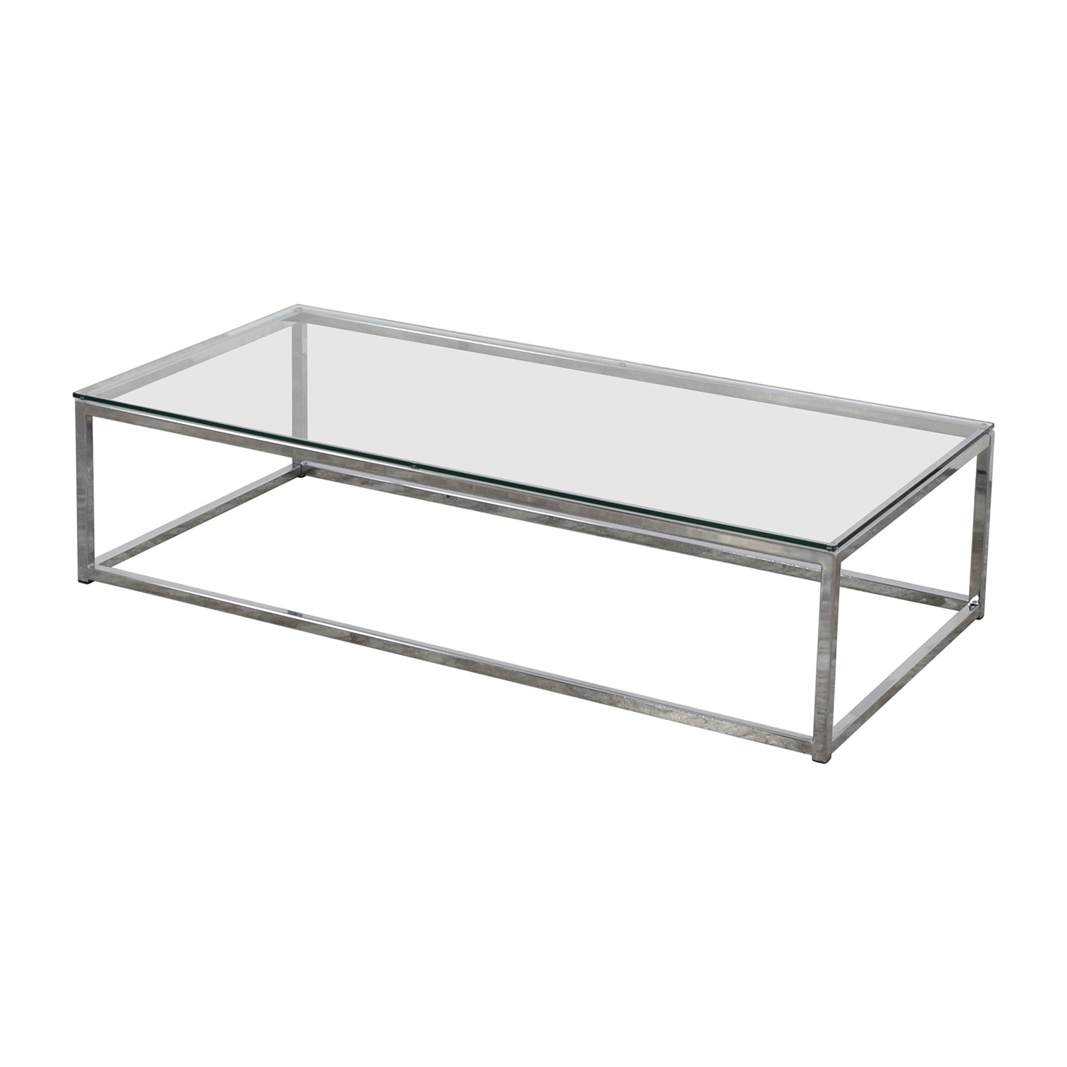 CB2 Glass and Chrome Coffee Table / Coffee Tables