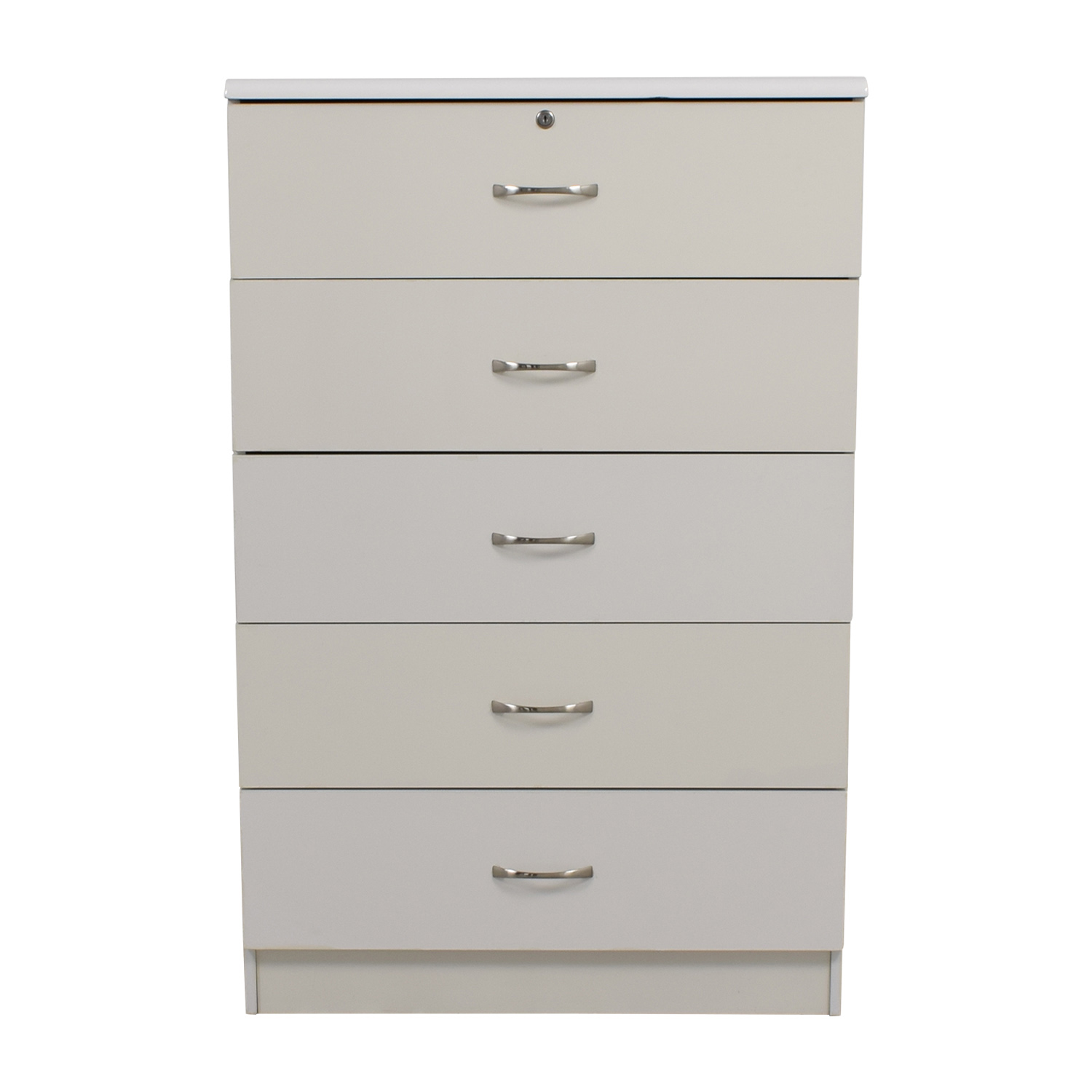 White Five-Drawer Dresser used