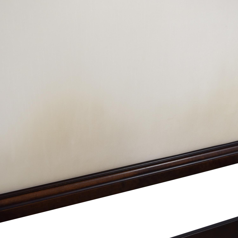 buy Ethan Allen Ethan Allen Wood and Cream Upholstered Queen Bed Frame online