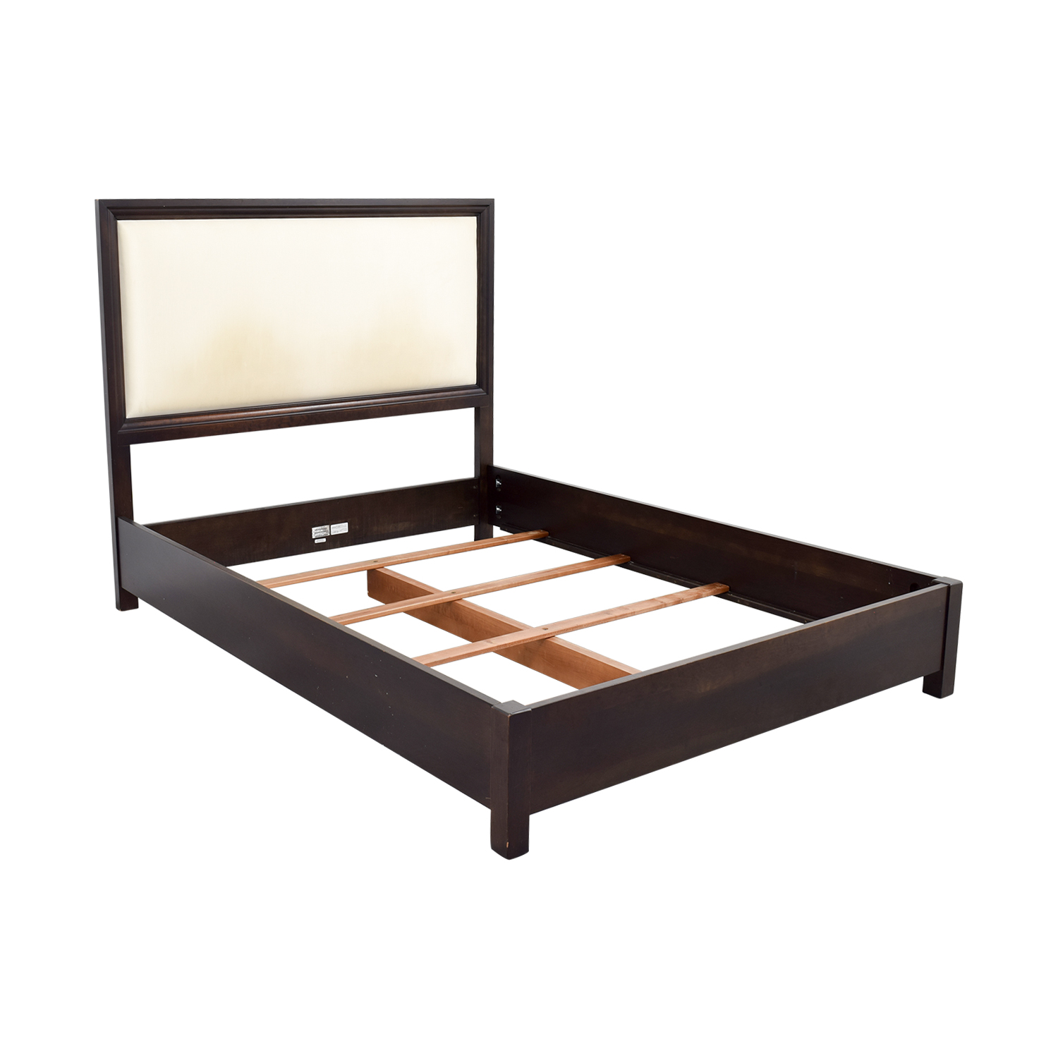 75 off ethan allen ethan allen wood and cream upholstered queen bed frame beds - Ethan allen queen beds ...