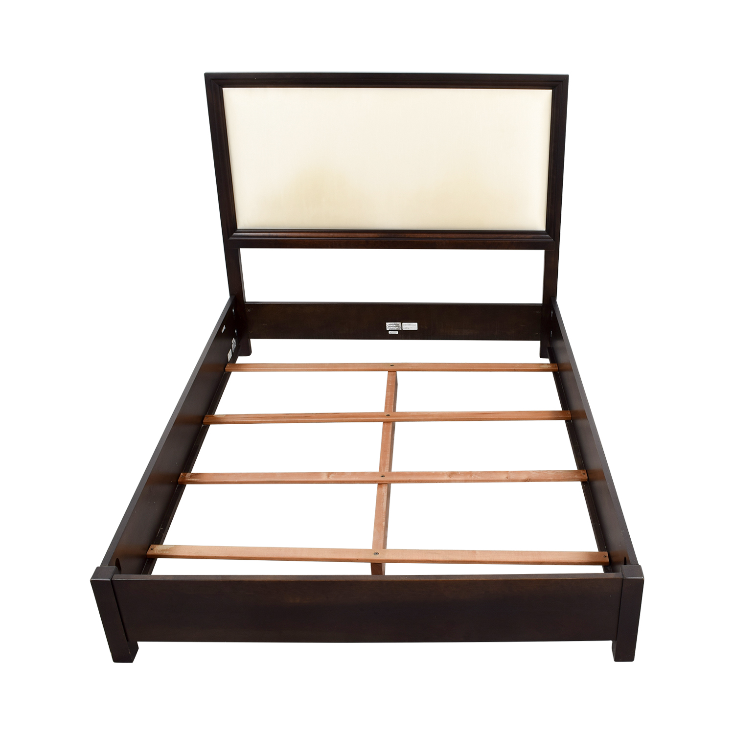 Ethan Allen Wood and Cream Upholstered Queen Bed Frame Ethan Allen