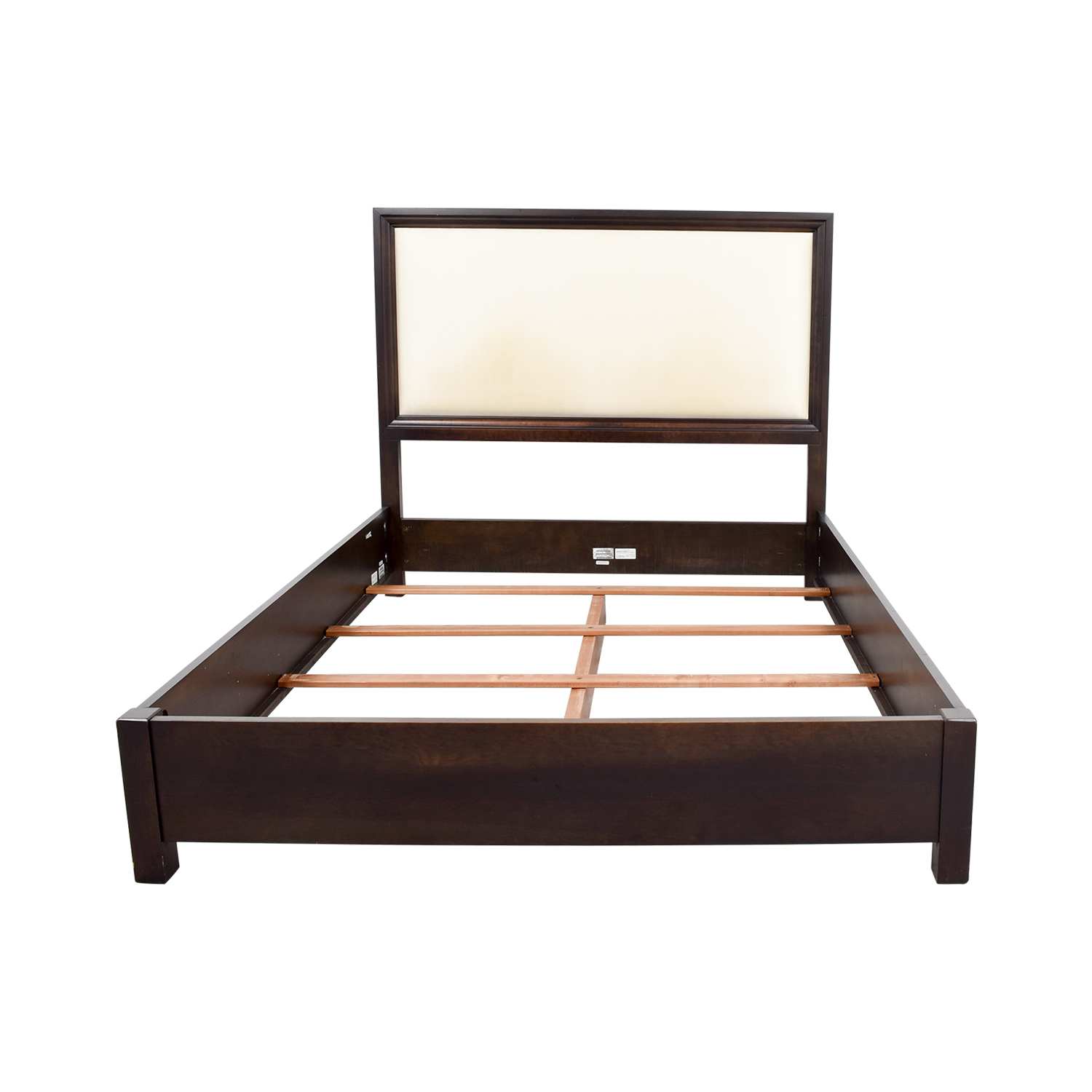 Ethan Allen Ethan Allen Wood and Cream Upholstered Queen Bed Frame discount